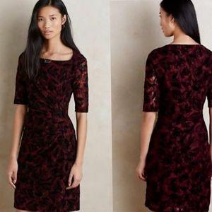Anthropologie Maeve Elorn Lace Red Black Dress 4